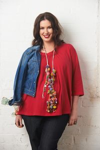 Image of Scoop neck top with 3/4 sleeves