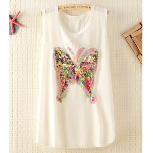 Image of Colorfull Sequins Butterfly Sleeveless Chiffon T-shirt