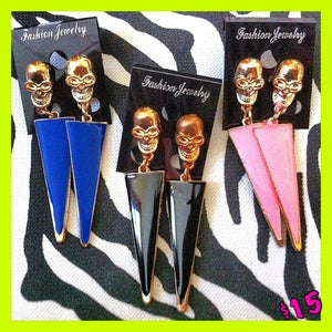 Image of Skull Tribal Triangle Earrings