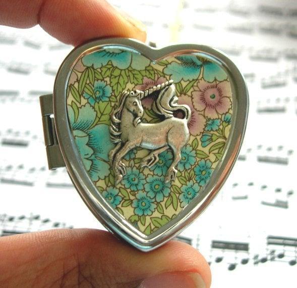 Image of Little Unicorn Music Box Locket - floral blue