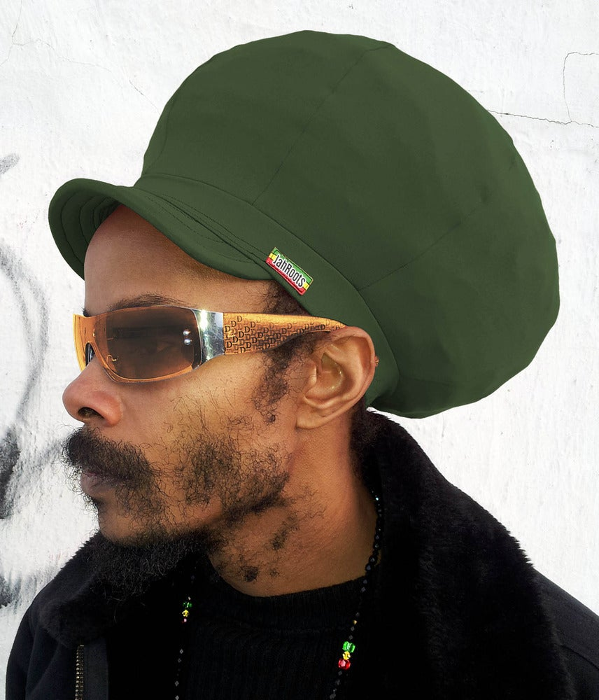 Image of Jah Roots Stretch Hats With Beak (Forest Green)