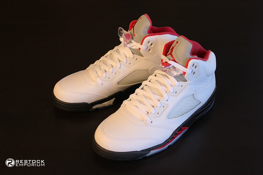 timeless design 21634 2709a Air Jordan 5 White Fire Red Black