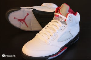 Image of Air Jordan 5 White Fire Red Black