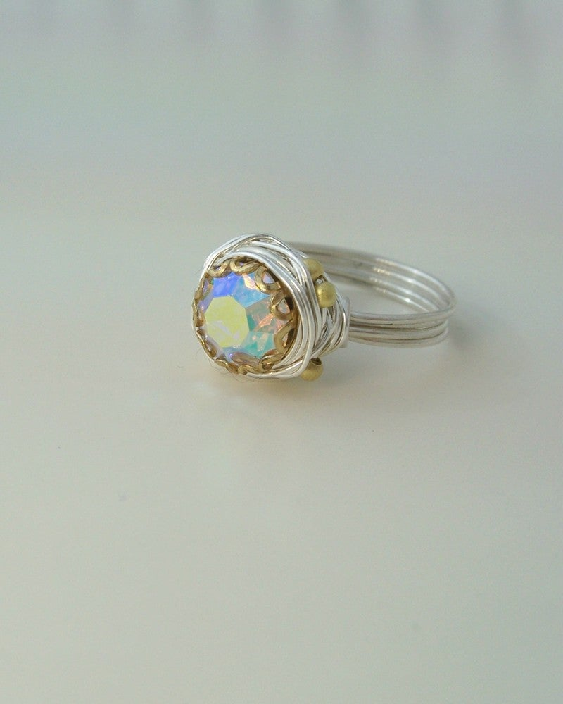 "Image of ""Silver Rainbow Nest"" vintage button ring"