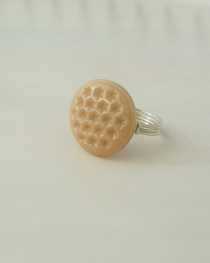 "Image of ""Honeycomb"" vintage glass button ring"