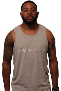 Image of GSI Script Tanktop (Heather Grey/Wht)