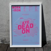 Image of Norn Iron A3 Risograph Print (Neon Pink on Baby Blue)