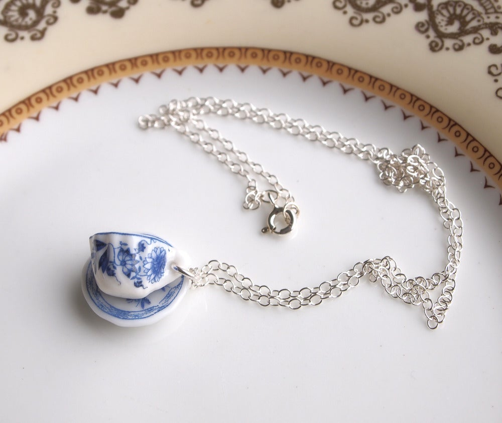 Image of blue willow cup and saucer necklace