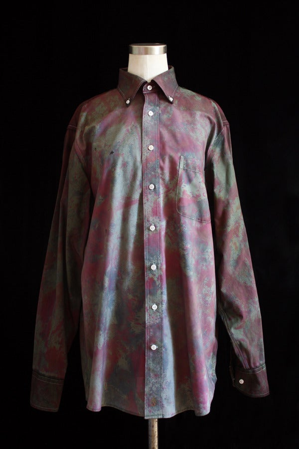 "Image of Dress Shirt, Olive ""Fireworks"" Pattern"