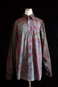 """Image of Dress Shirt, Olive """"Fireworks"""" Pattern"""