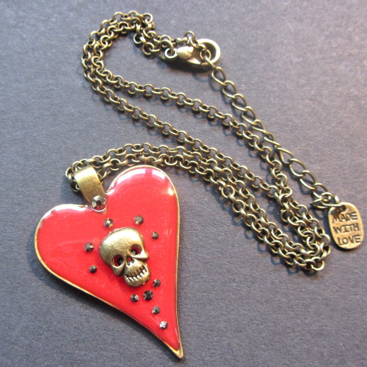 Red Halo Skullie Heart Bronze Pendant