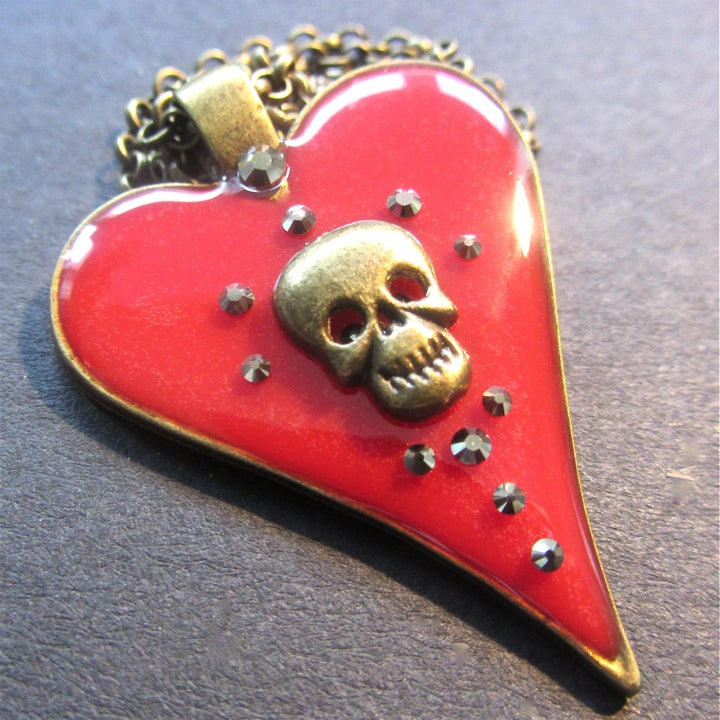 Red Halo Skullie Heart Bronze Pendant