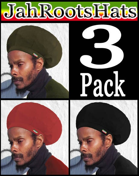 Image of Jah Roots Stretch Hat 3 Pack (Olive, Red, & Black)