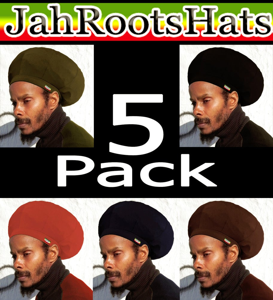 Image of Jah Roots Stretch Hats 5 Pack (Olive, Black, Red, Navy, & Brown)
