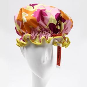 Image of Showercap pink and orange retro flowers - regular size