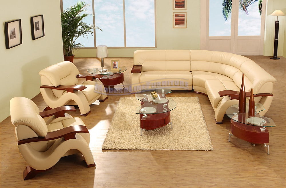 Image Of Modern Beige Leather Sectional Sofa W/ Two Chairs Coffee Table And  Two End