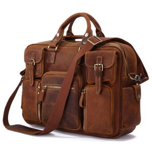 Image of Vintage Handmade Antique Leather Business Travel Bag / Messenger / Duffle Bag / Weekend Bag (n62-4)