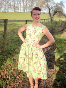 Image of 1950s garden party dress green