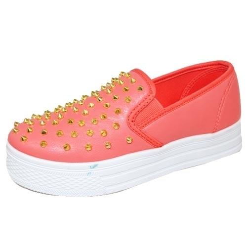 Image of Qupid Manica-13 Spike Studded Round Toe Flatform Loafers