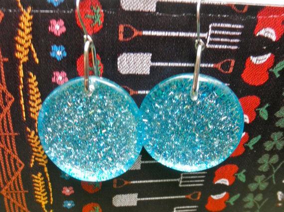 Image of Myrna Earrings in sky blue sparkle