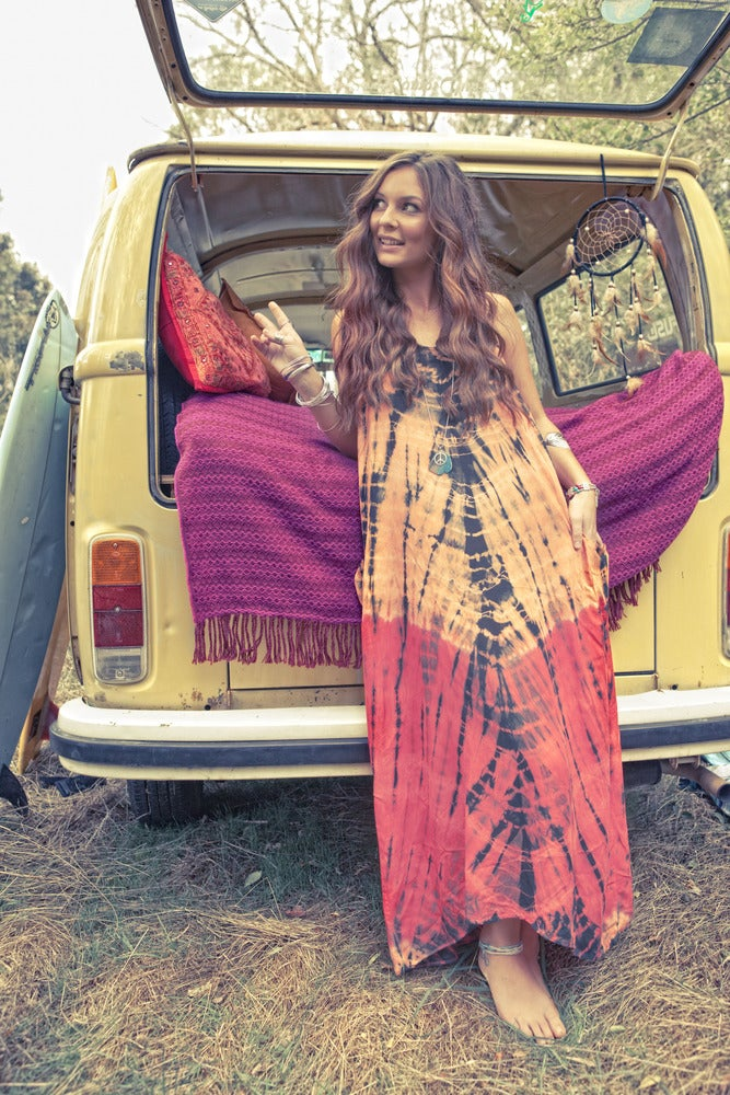 Image of Piedra Roja festival tiedye maxi dress