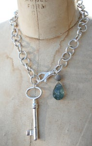 Image of Sterling Chain with Moss Aquamarine and Antique Key