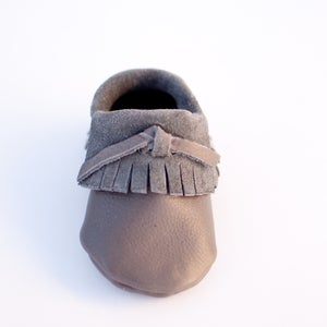 Image of Gray Leather Moccasins