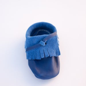 Image of Blue Leather Moccasins