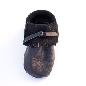 Image of Black Leather Moccasins