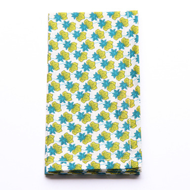 Image of Handkerchief - cream with squashy green pineapples