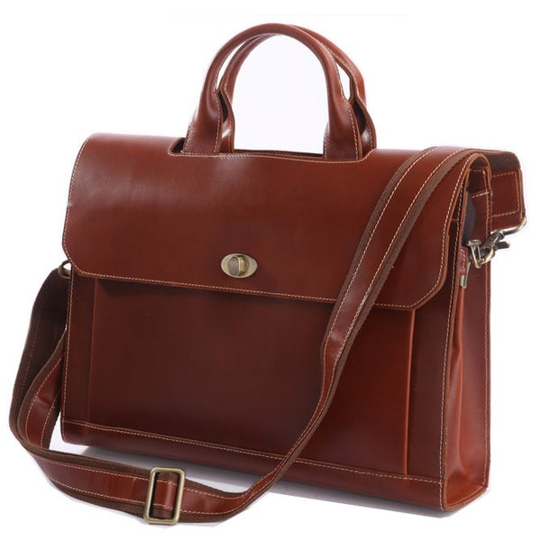 "Image of Vintage Handmade Superior Leather Briefcase / Messenger / 14"" 15"" Laptop 13"" 15"" MacBook Bag (n37)"