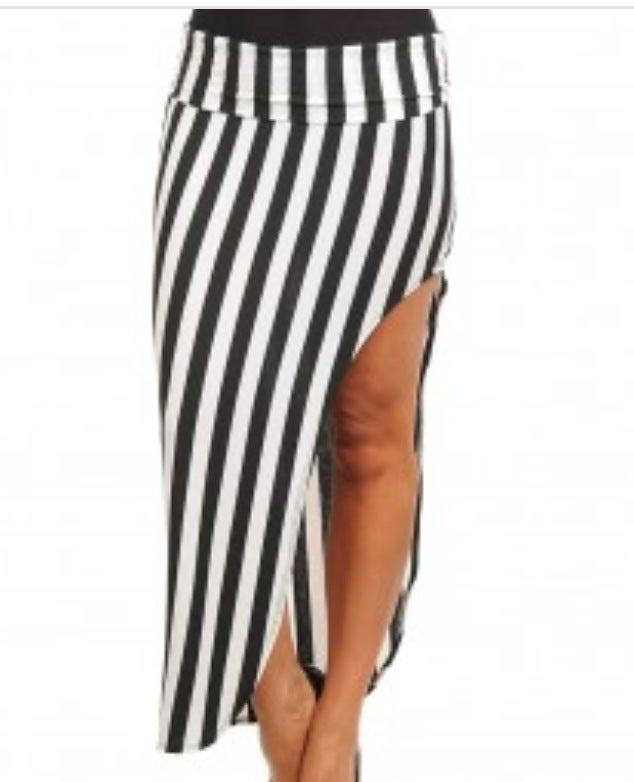 Image of Asymmetric Stripe Skirt