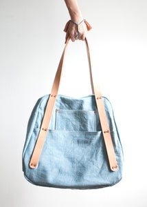 Image of 35. Pale Indigo Shoulder Bag // THOMAS CHAMBERLAIN