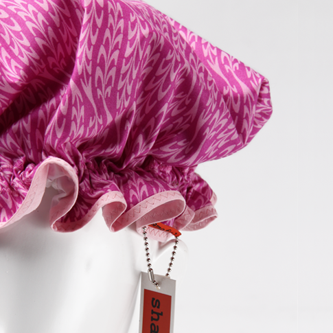 Image of Showercap pink with swirly stripes - regular and big sizes