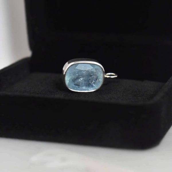 Image of Premium Natural Ice Blue Aquamarine cushion cut silver necklace