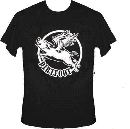 Image of  Dirtfoot - Flying Pig T - Black w/White Print