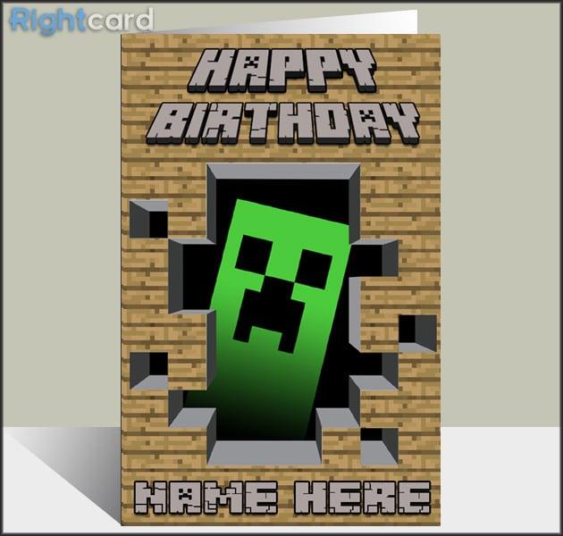 Rightcard — Custom Minecraft Creeper Inspired Birthday Card