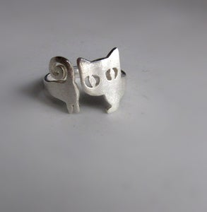 Image of Little Cat Ring (Kitten) Silver Ring - handmade sterling silver ring