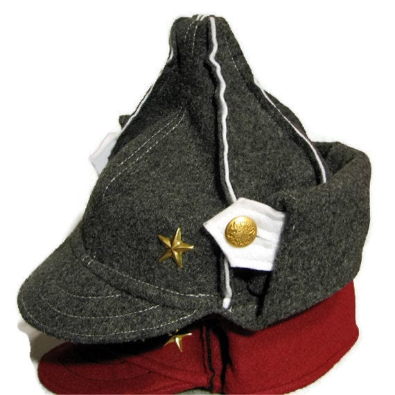 Image of Gray felt Russian hat made with recycled materials