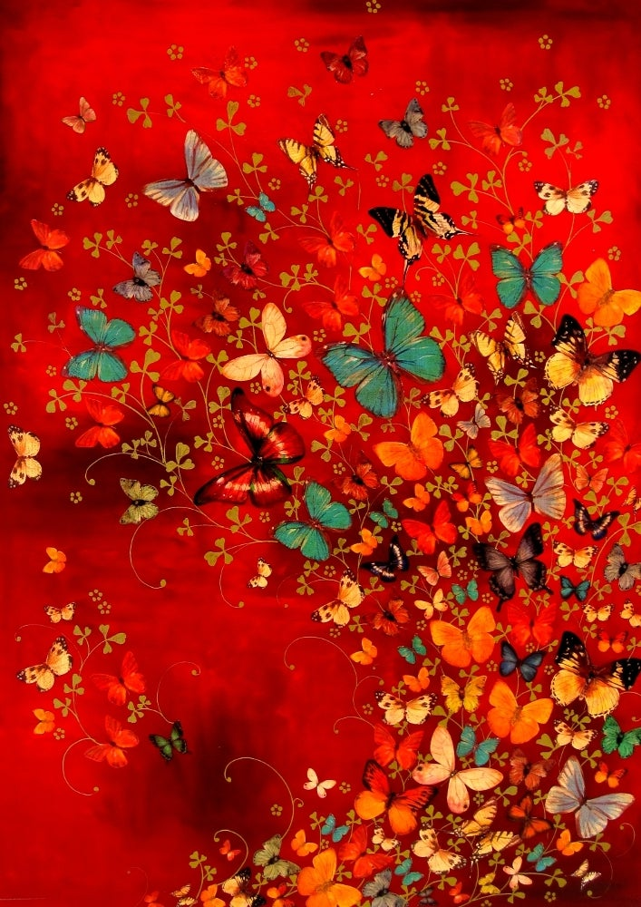 Image of Lily Greenwood Signed Giclée Print - Butterflies on Red - A2 - Limited Edition