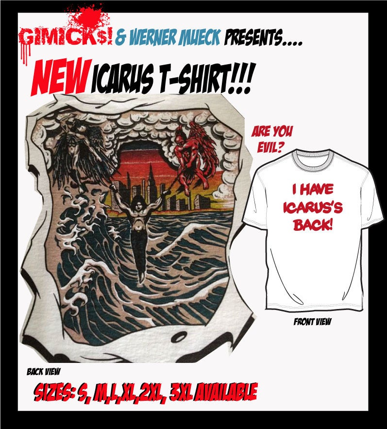 Image of I have Icarus's Back! (Tattoo) T-shirt EVIL Edition
