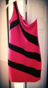 Image of Red and Black Off the Shoulder Dress