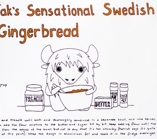 Image of Patrick the Yak's Sensational Swedish Gingerbread - Tea Towel