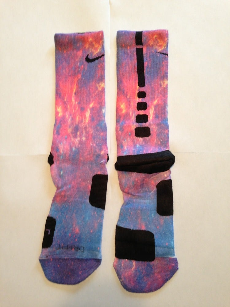 Custom Nike Elite Socks All Sizes FIRE GALAXY