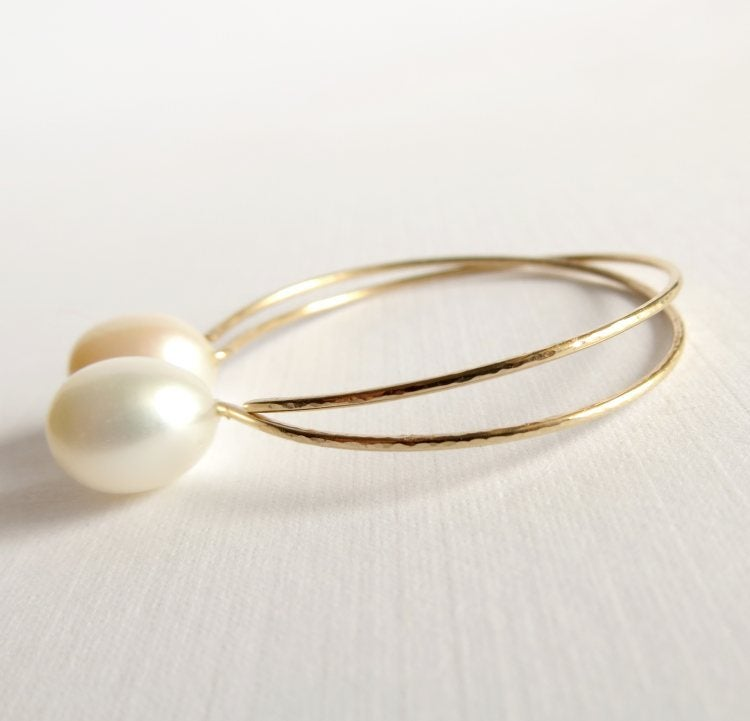 Image of White cultured freshwater pearl hoop earrings - Momi Hoops