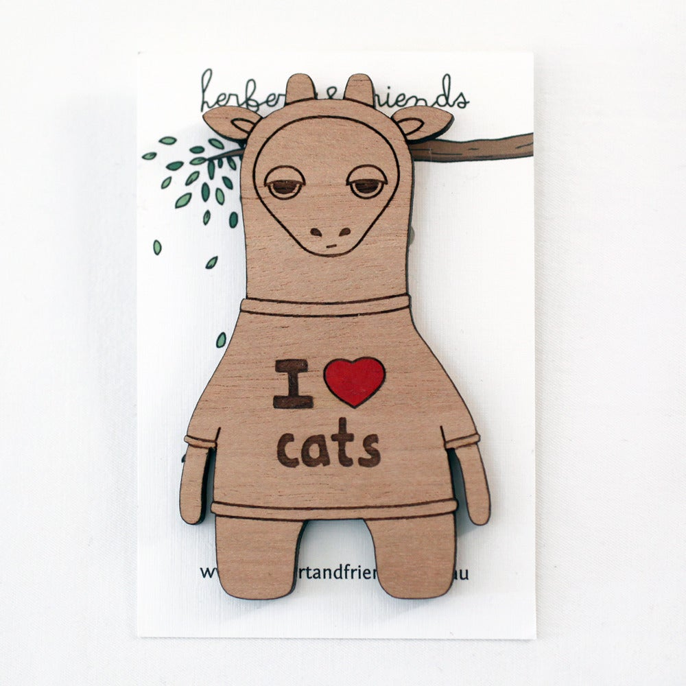 Image of 'I Heart Cats' Giraffe Brooch