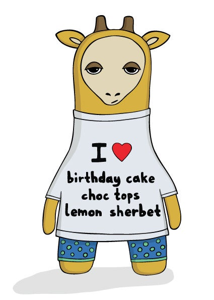 Image of I heart birthday cake, choc tops and lemon sherbet - Birthday Card