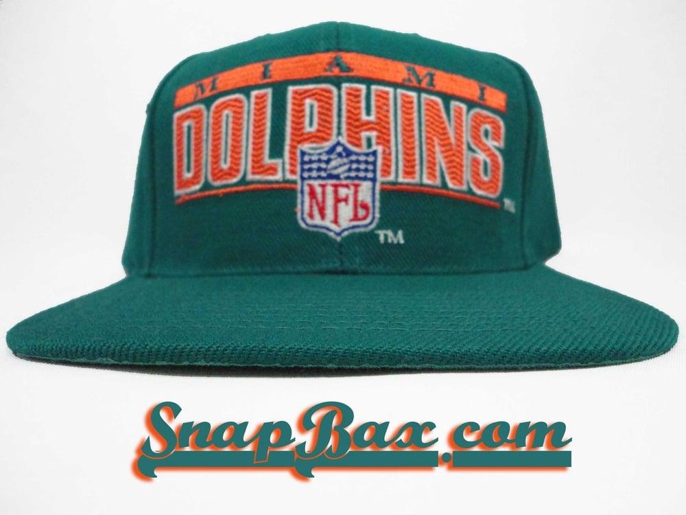 Image of Vintage Deadstock Miami Dolphins Sports Specialties Block Logo Snapback Cap