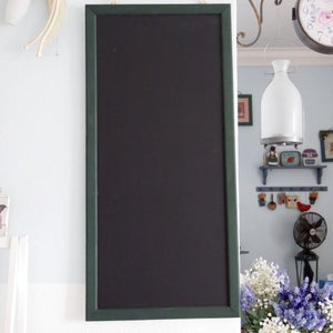 Long Chalkboard with Narrow Green Frame