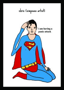 Image of Superman having a panic attack - print